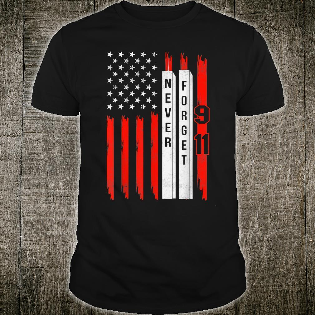 American Flag Never Forget 911 Patriot Day 20th Anniversary Shirt